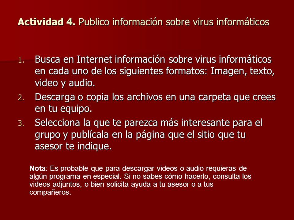Actividad 4. Publico información sobre virus informáticos
