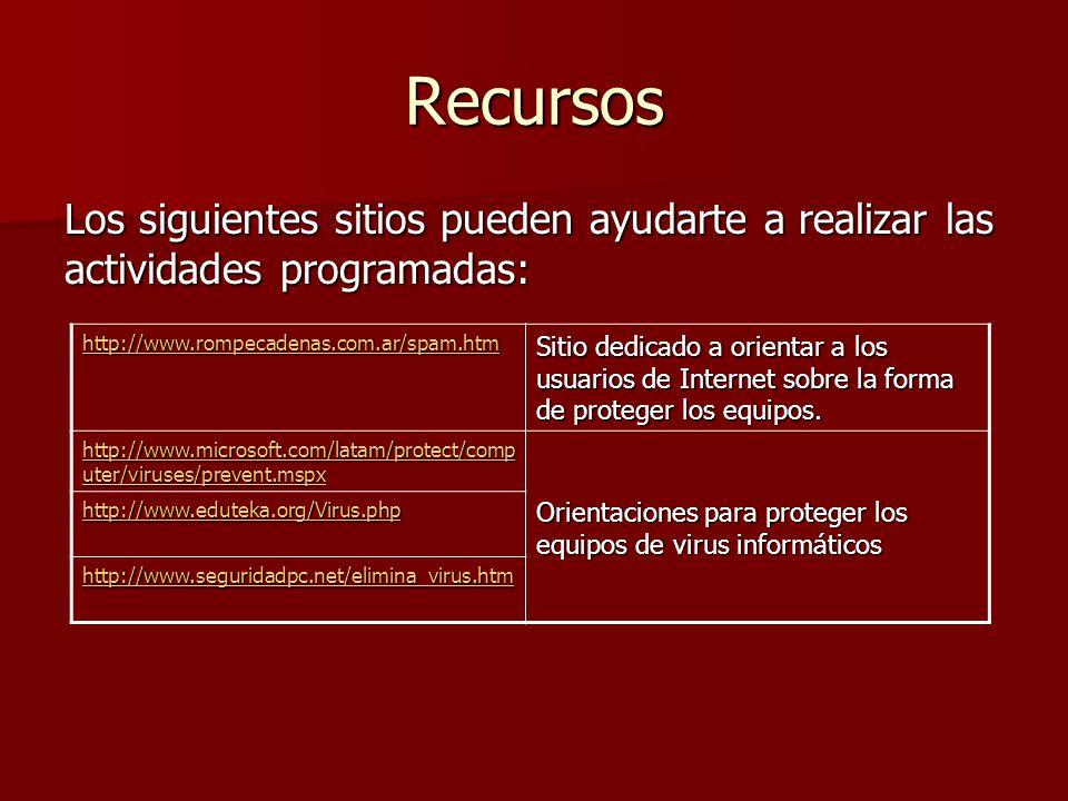 Recursos Los siguientes sitios pueden ayudarte a realizar las actividades programadas: http://www.rompecadenas.com.ar/spam.htm.