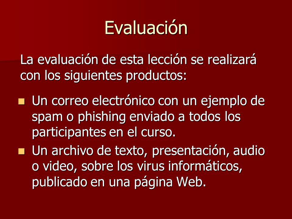 Evaluación La evaluación de esta lección se realizará con los siguientes productos: