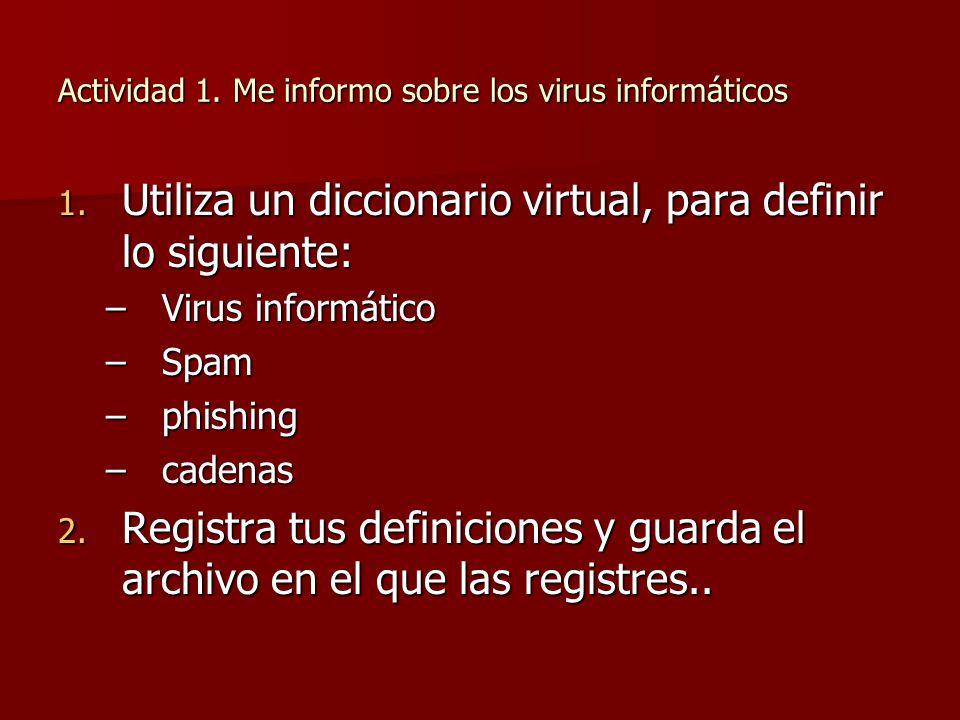 Actividad 1. Me informo sobre los virus informáticos