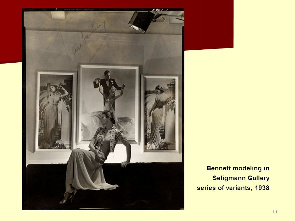 Bennett modeling in Seligmann Gallery series of variants, 1938