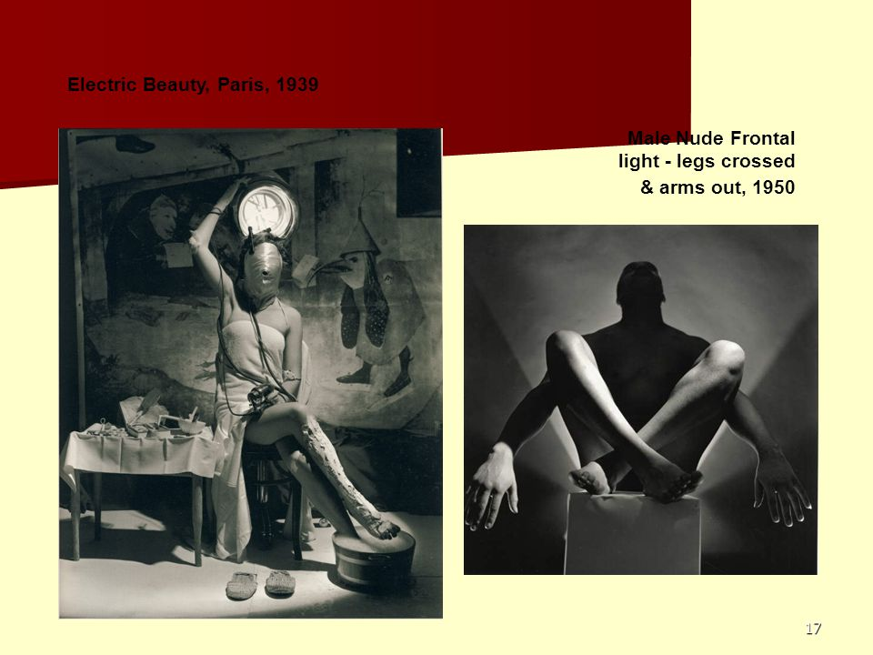 Electric Beauty, Paris, 1939 Male Nude Frontal light - legs crossed & arms out, 1950