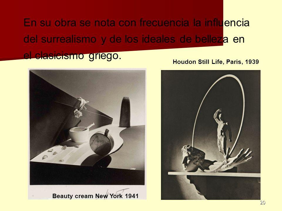 En su obra se nota con frecuencia la influencia del surrealismo y de los ideales de belleza en el clasicismo griego.