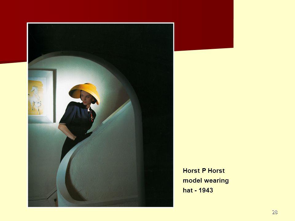 Horst P Horst model wearing hat - 1943
