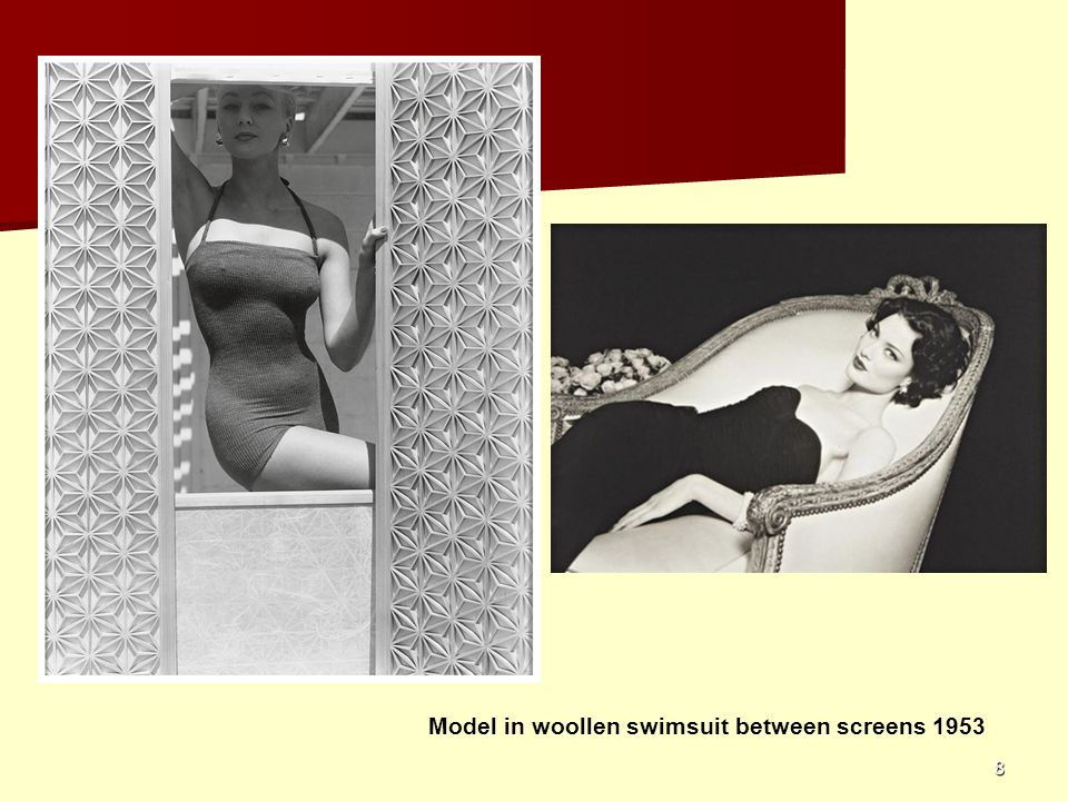 Model in woollen swimsuit between screens 1953