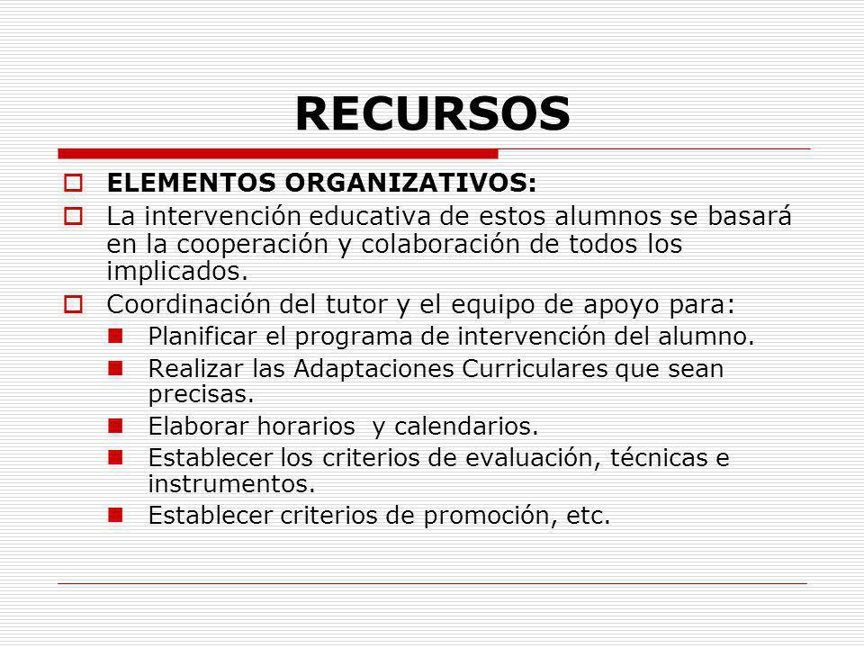 RECURSOS ELEMENTOS ORGANIZATIVOS: