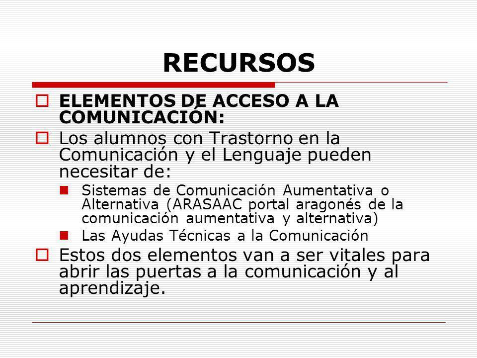 RECURSOS ELEMENTOS DE ACCESO A LA COMUNICACIÓN: