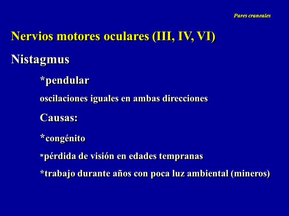 Nervios motores oculares (III, IV, VI) Nistagmus