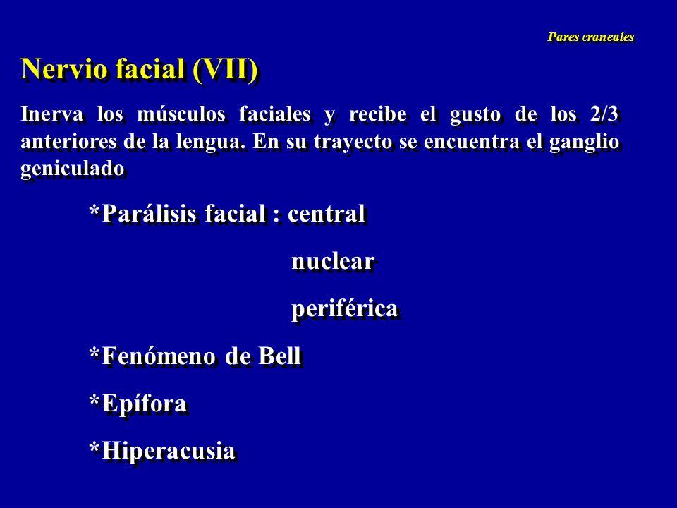 Nervio facial (VII) *Parálisis facial : central nuclear periférica