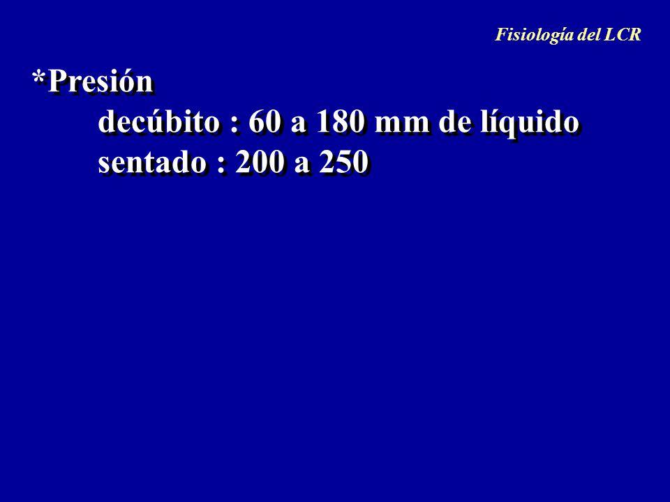 *Presión sentado : 200 a 250 decúbito : 60 a 180 mm de líquido