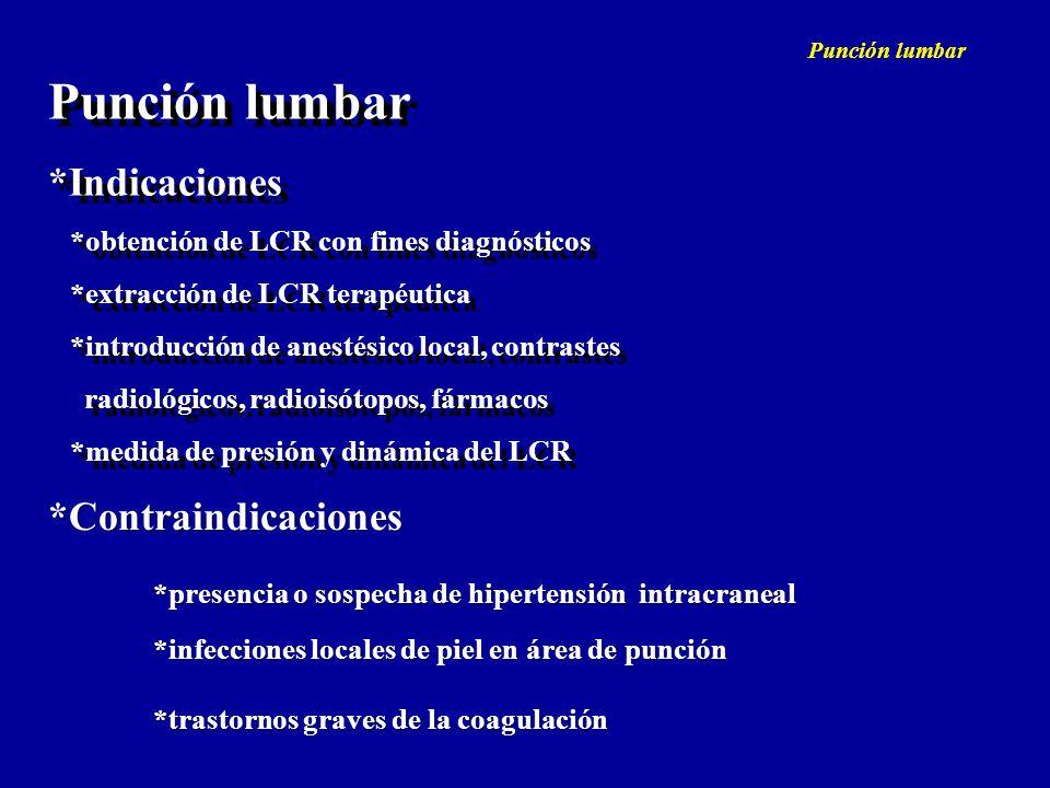 Punción lumbar *Indicaciones *Contraindicaciones