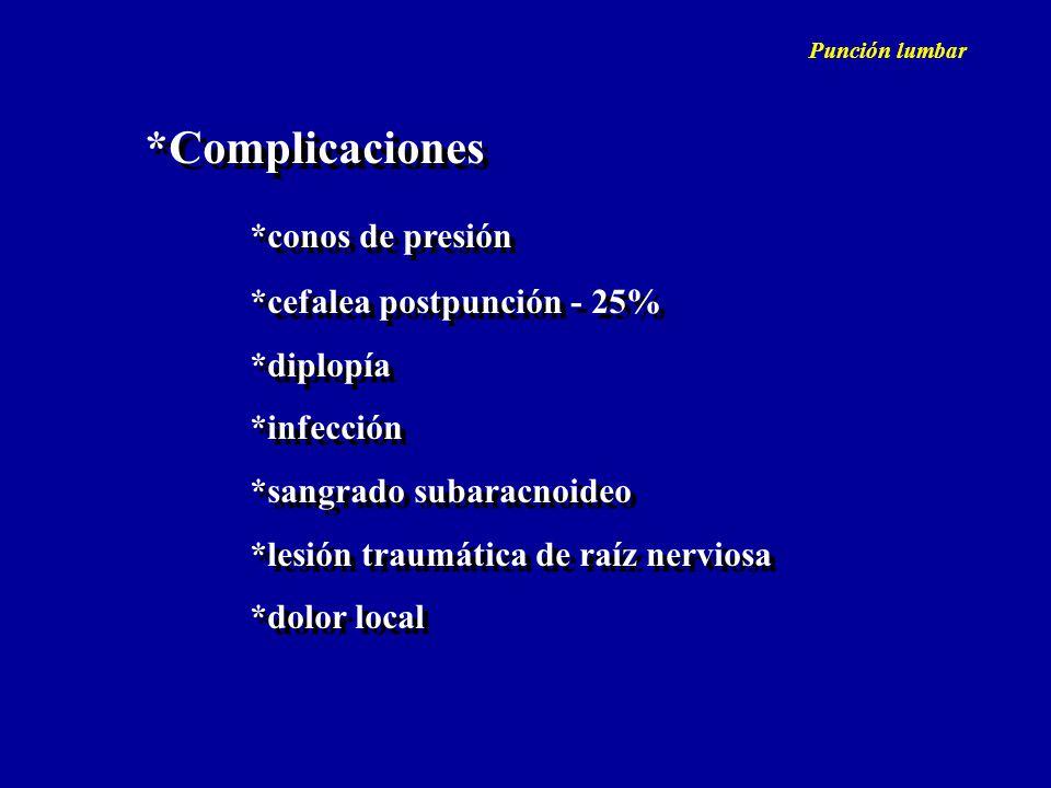 *Complicaciones *conos de presión *cefalea postpunción - 25% *diplopía