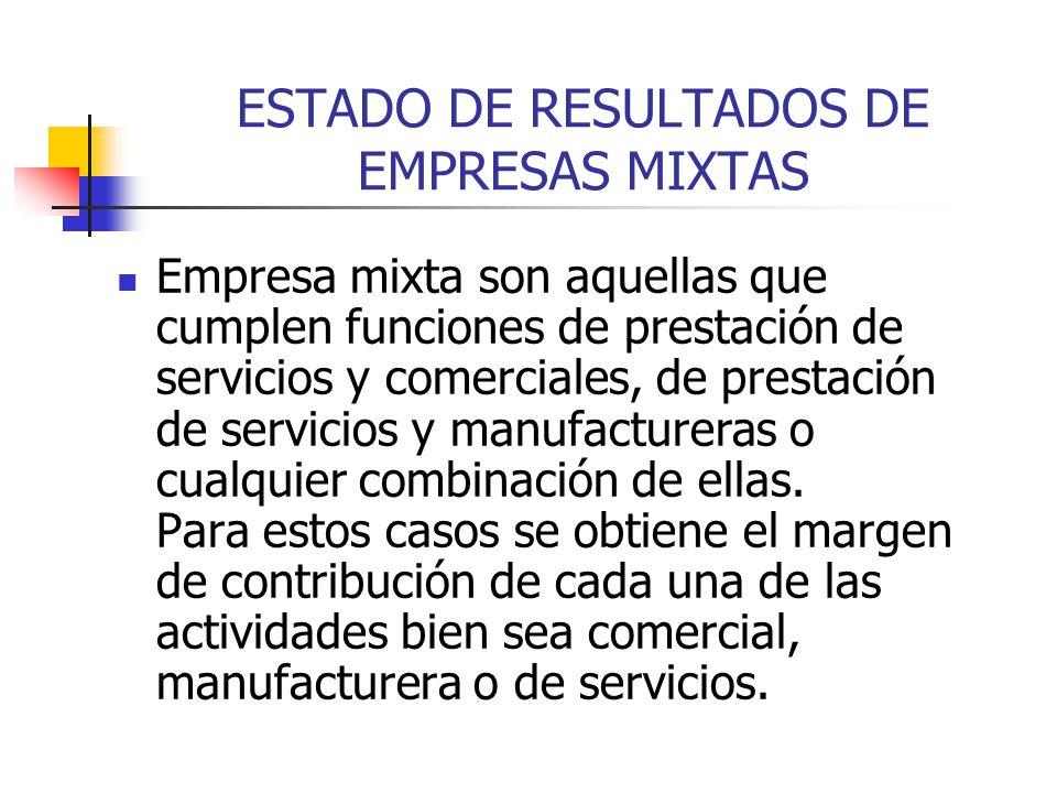 ESTADO DE RESULTADOS DE EMPRESAS MIXTAS