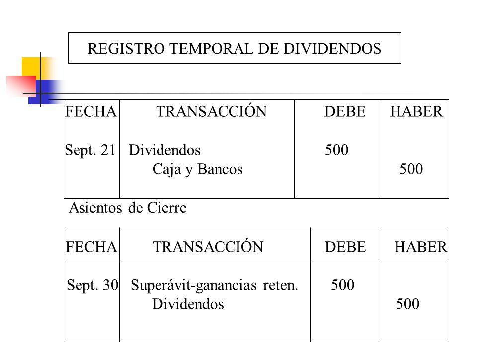 REGISTRO TEMPORAL DE DIVIDENDOS