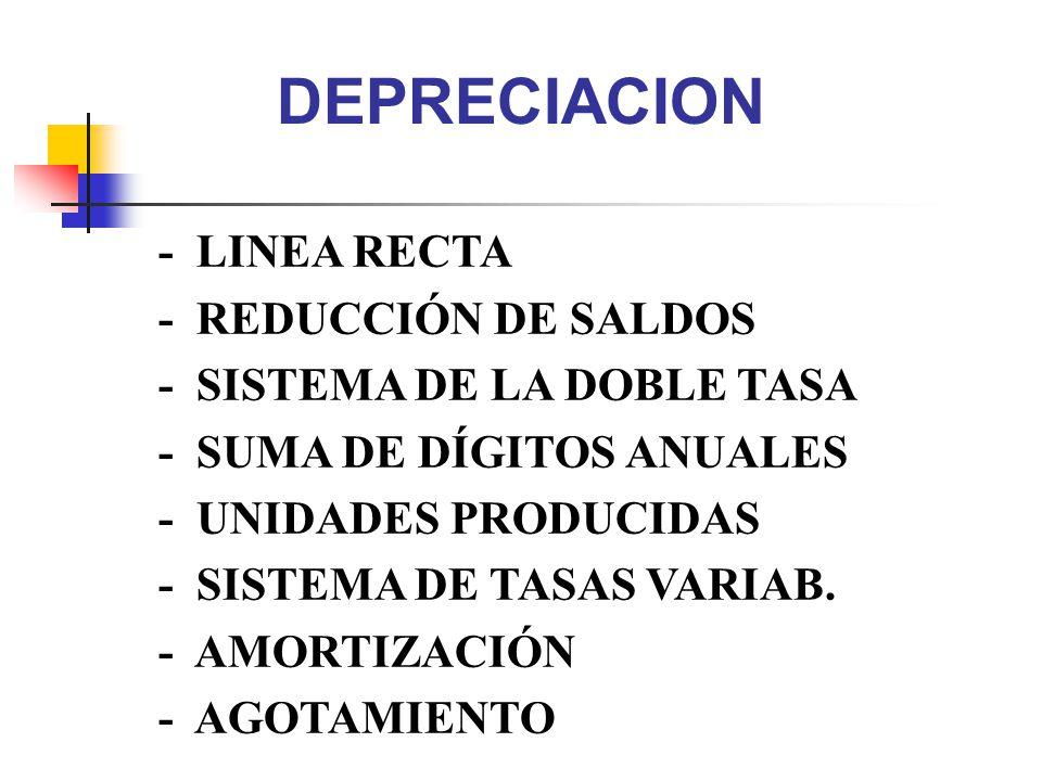 DEPRECIACION - LINEA RECTA - REDUCCIÓN DE SALDOS