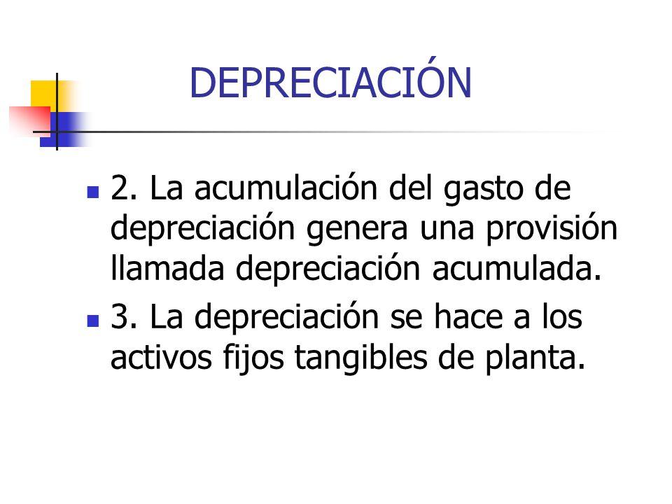 DEPRECIACIÓN 2. La acumulación del gasto de depreciación genera una provisión llamada depreciación acumulada.