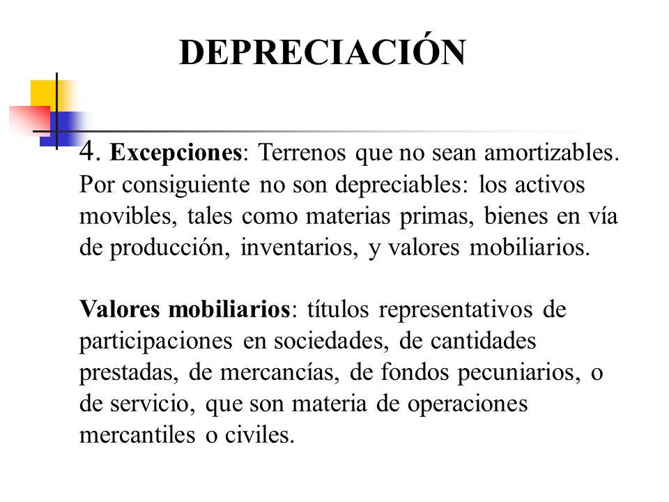 DEPRECIACIÓN 4. Excepciones: Terrenos que no sean amortizables.