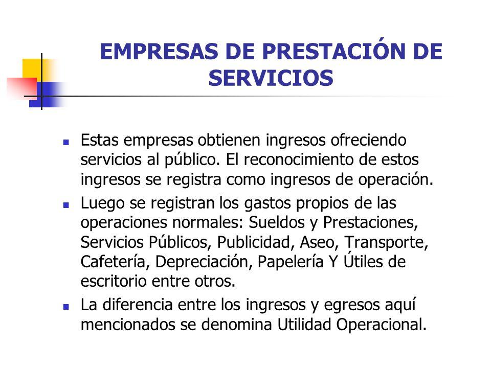 EMPRESAS DE PRESTACIÓN DE SERVICIOS