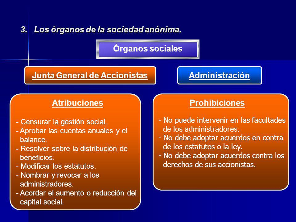 3. Los órganos de la sociedad anónima.