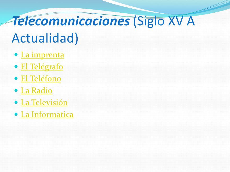 Telecomunicaciones (Siglo XV A Actualidad)