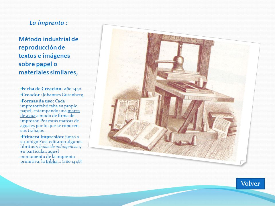 La imprenta : Método industrial de reproducción de textos e imágenes sobre papel o materiales similares,