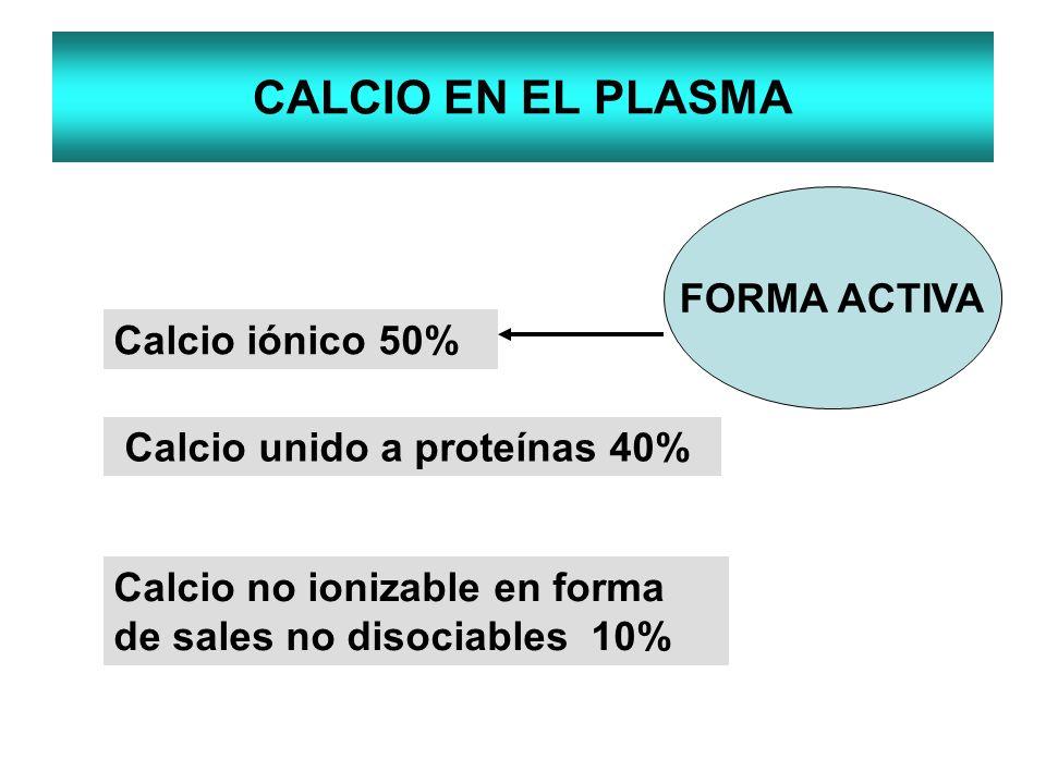 CALCIO EN EL PLASMA FORMA ACTIVA Calcio iónico 50%