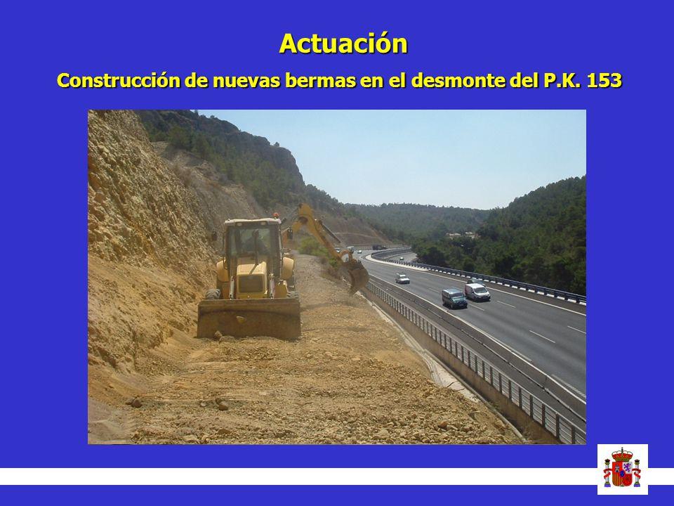 Actuación Construcción de nuevas bermas en el desmonte del P.K. 153 13