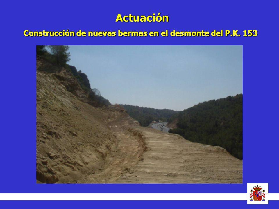 Actuación Construcción de nuevas bermas en el desmonte del P.K. 153 14