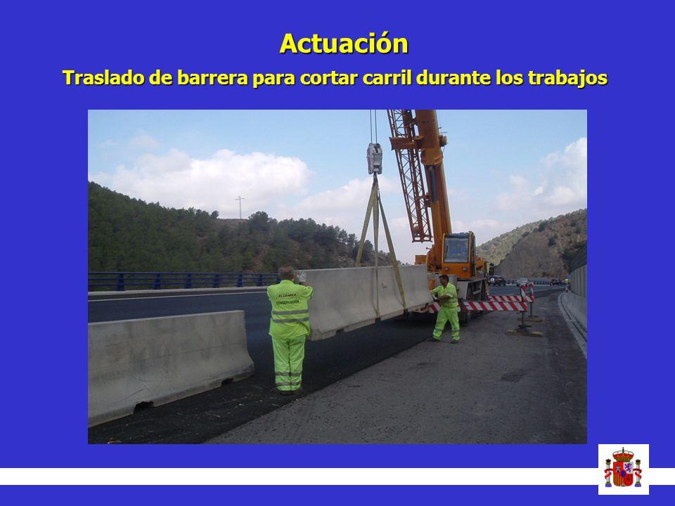 Actuación Traslado de barrera para cortar carril durante los trabajos