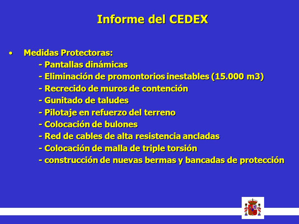 Informe del CEDEX Medidas Protectoras: - Pantallas dinámicas