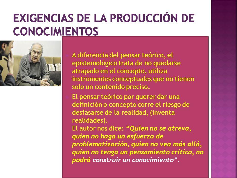 Exigencias de la producción de conocimientos