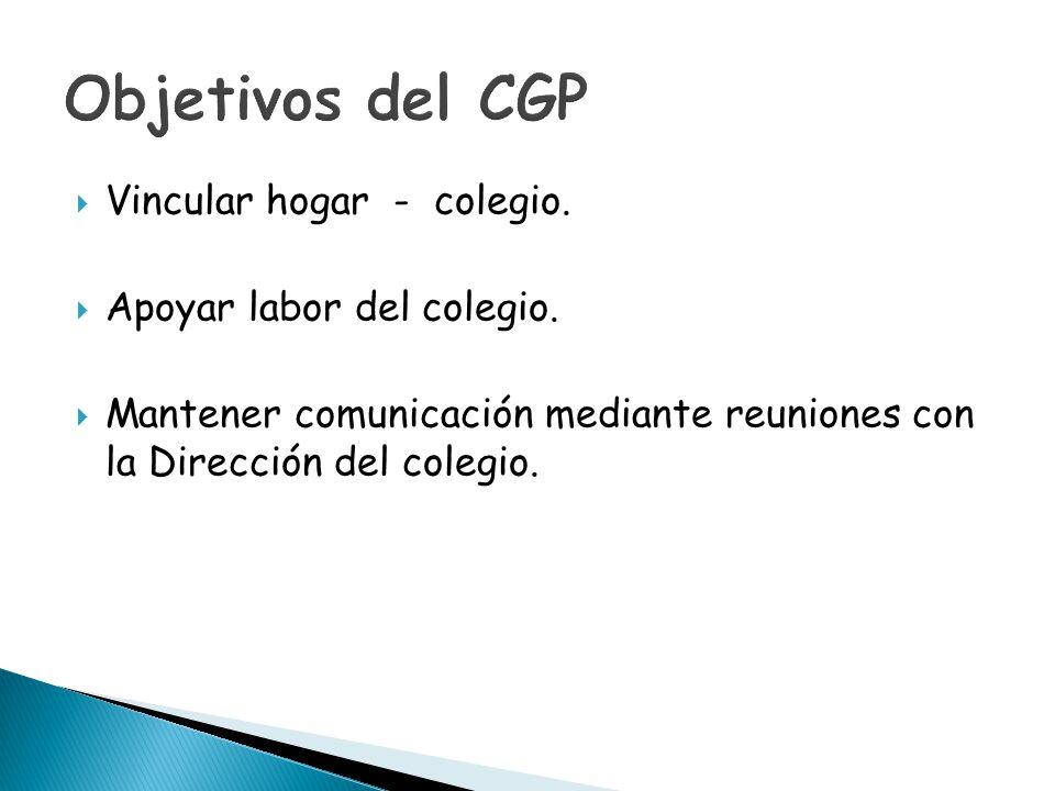 Objetivos del CGP Vincular hogar - colegio. Apoyar labor del colegio.