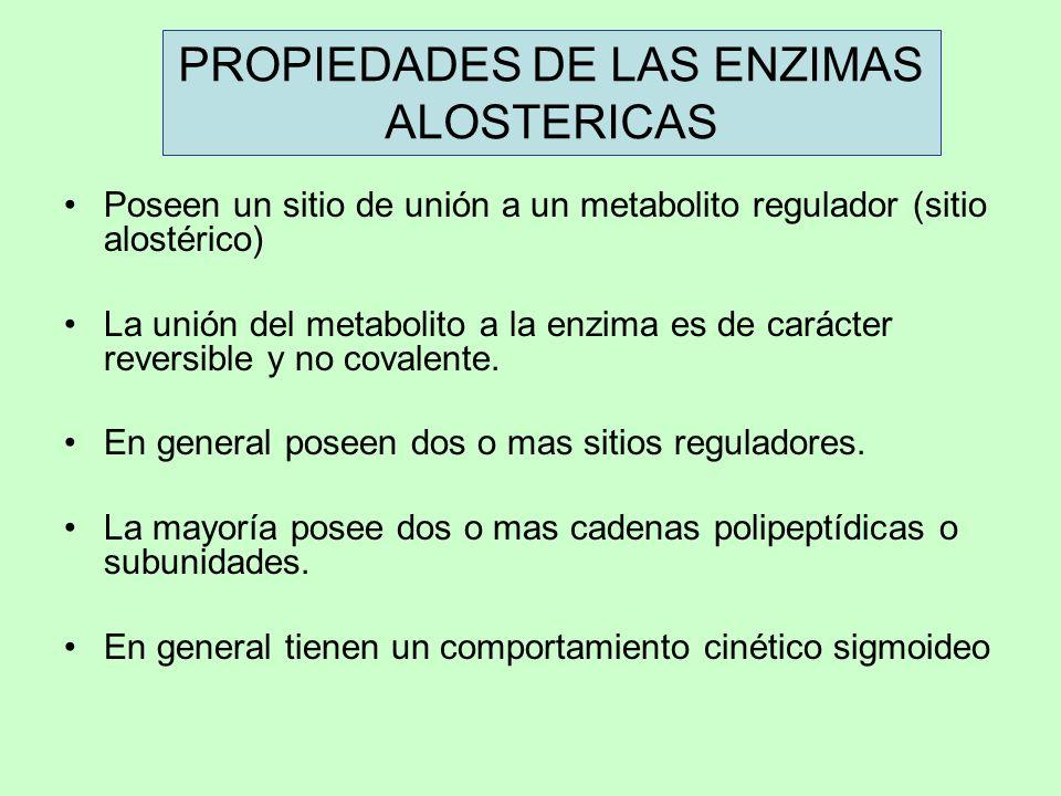 PROPIEDADES DE LAS ENZIMAS ALOSTERICAS