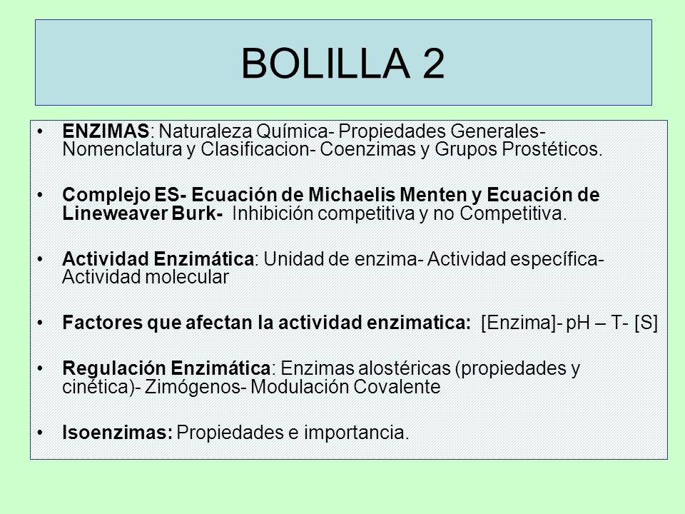 BOLILLA 2 ENZIMAS: Naturaleza Química- Propiedades Generales- Nomenclatura y Clasificacion- Coenzimas y Grupos Prostéticos.