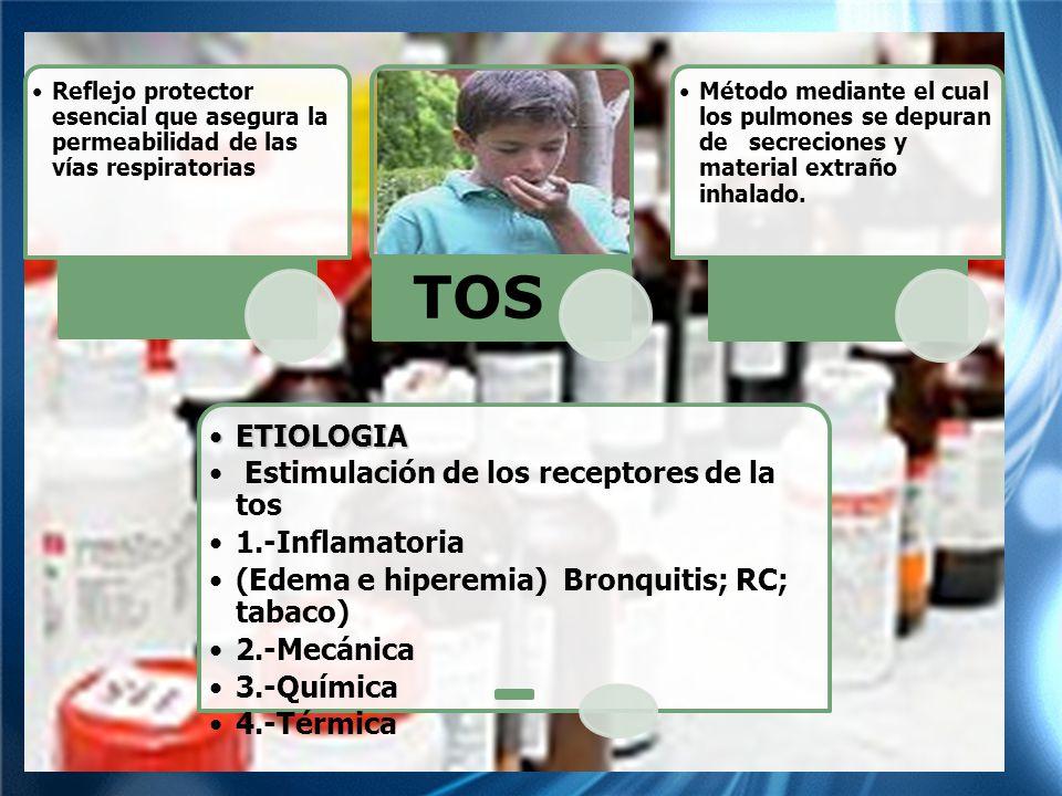 TOS ETIOLOGIA Estimulación de los receptores de la tos 1.-Inflamatoria