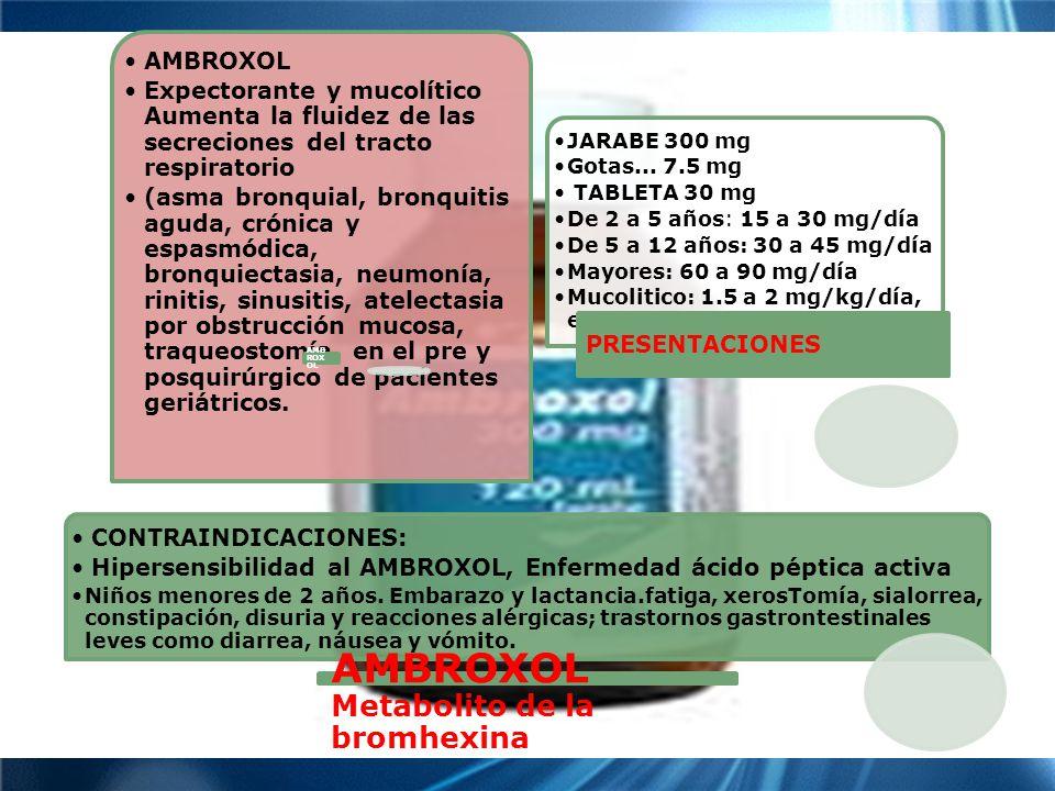 TOS AMBROXOLMetabolito de la bromhexina AMBROXOL