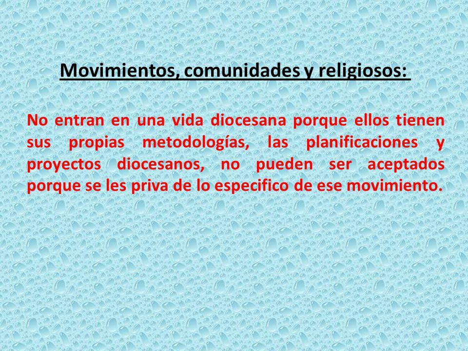 Movimientos, comunidades y religiosos:
