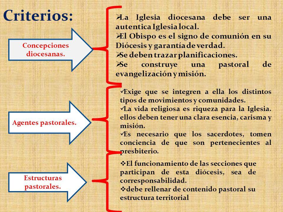 Concepciones diocesanas. Estructuras pastorales.