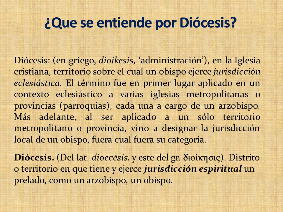 ¿Que se entiende por Diócesis