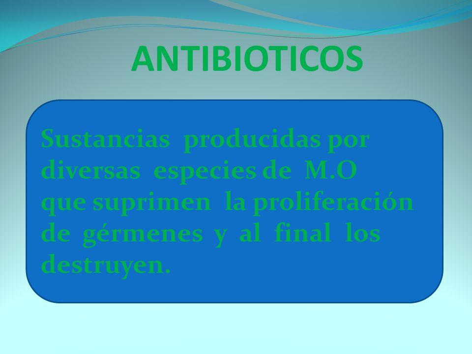 ANTIBIOTICOS Sustancias producidas por diversas especies de M.O