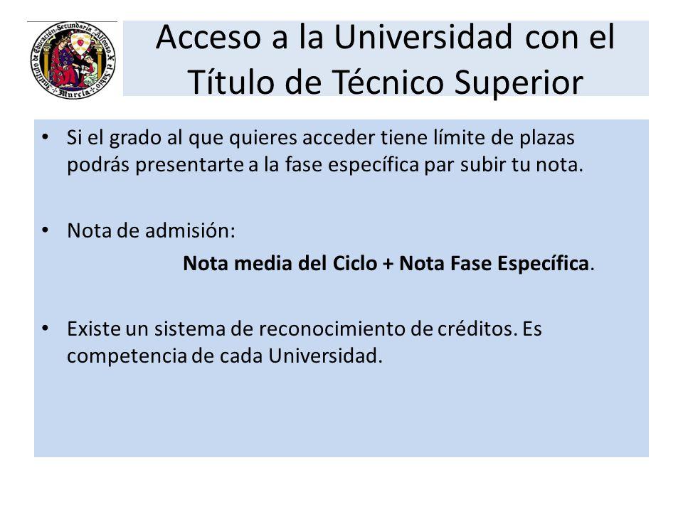 Acceso a la Universidad con el Título de Técnico Superior