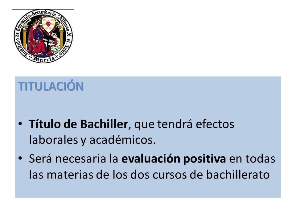 TITULACIÓN Título de Bachiller, que tendrá efectos laborales y académicos.