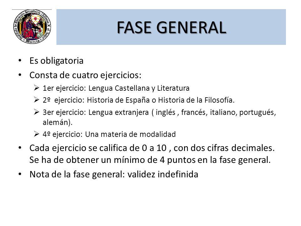 FASE GENERAL Es obligatoria Consta de cuatro ejercicios: