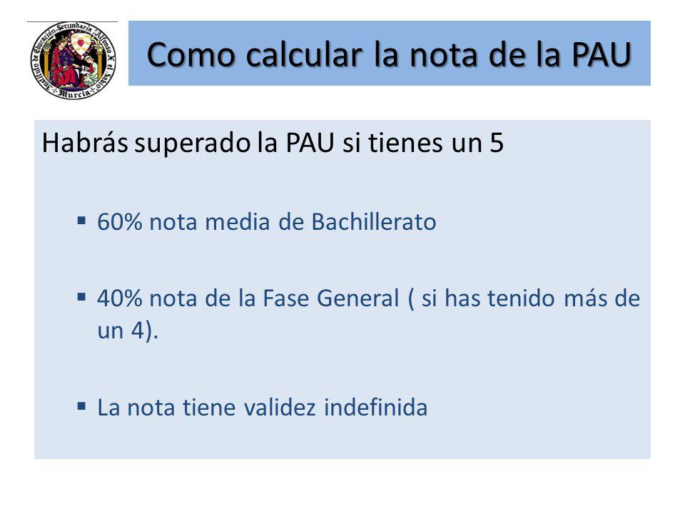 Como calcular la nota de la PAU