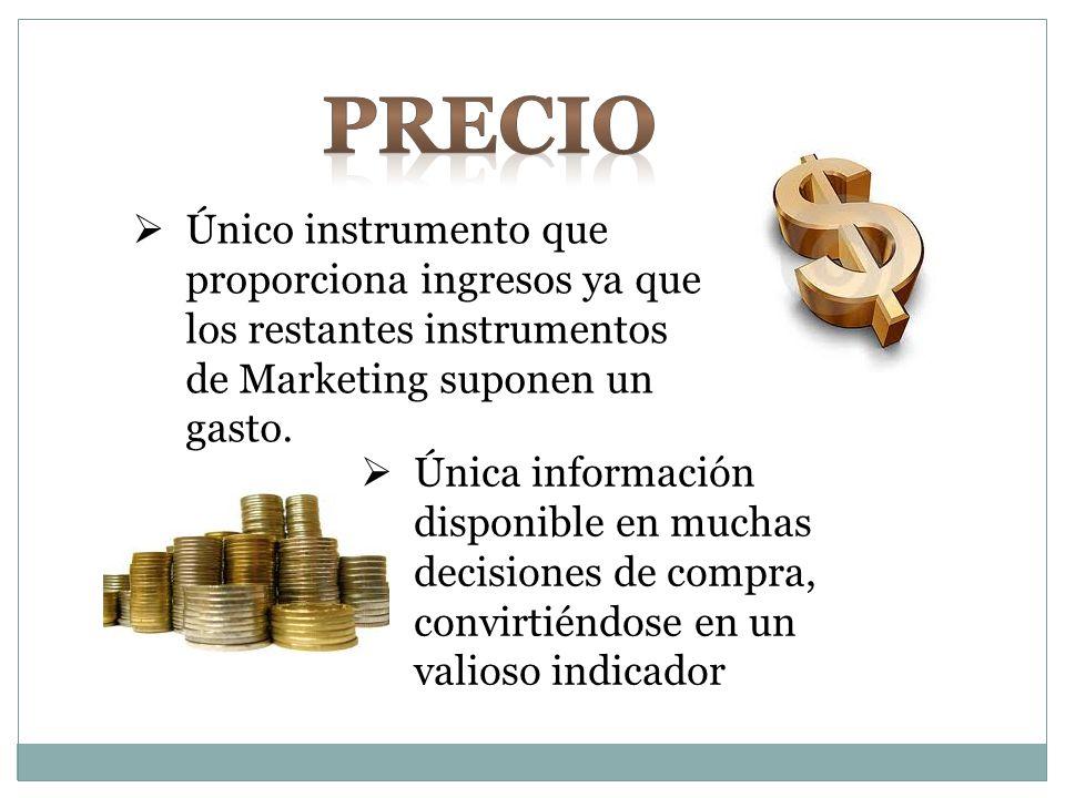 Precio Único instrumento que proporciona ingresos ya que los restantes instrumentos de Marketing suponen un gasto.