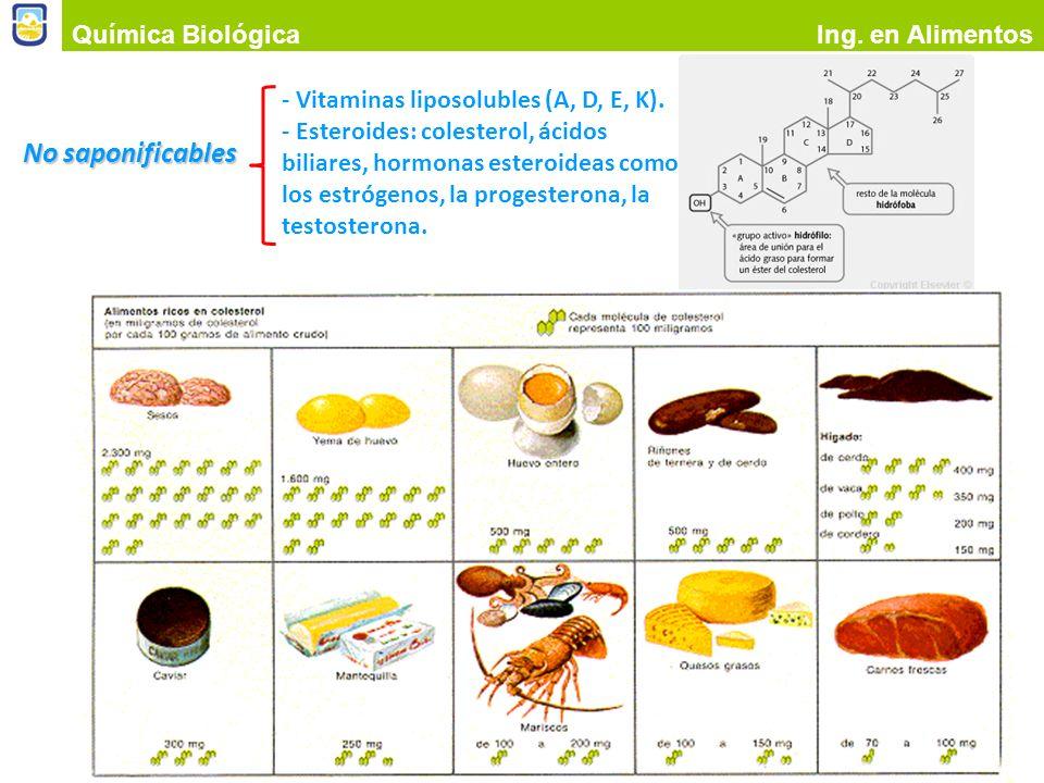 No saponificables Química Biológica Ing. en Alimentos Colesterol