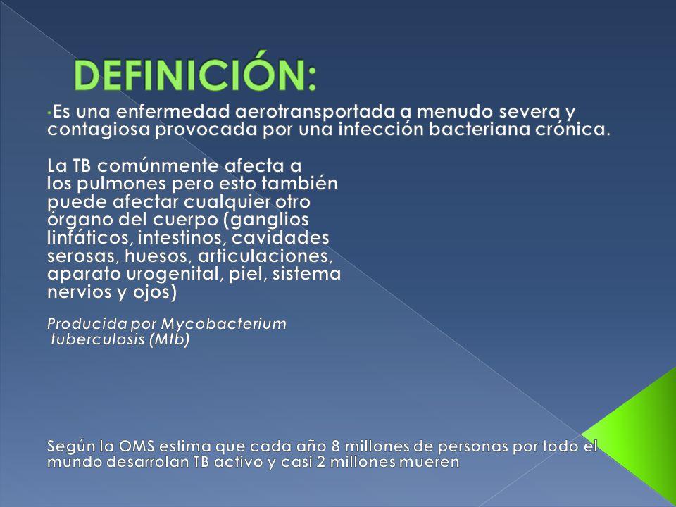 DEFINICIÓN: Es una enfermedad aerotransportada a menudo severa y contagiosa provocada por una infección bacteriana crónica.