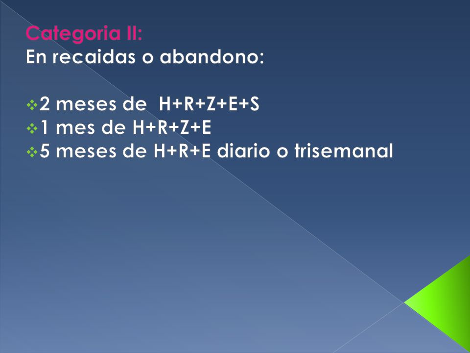 Categoria II: En recaidas o abandono: 2 meses de H+R+Z+E+S.