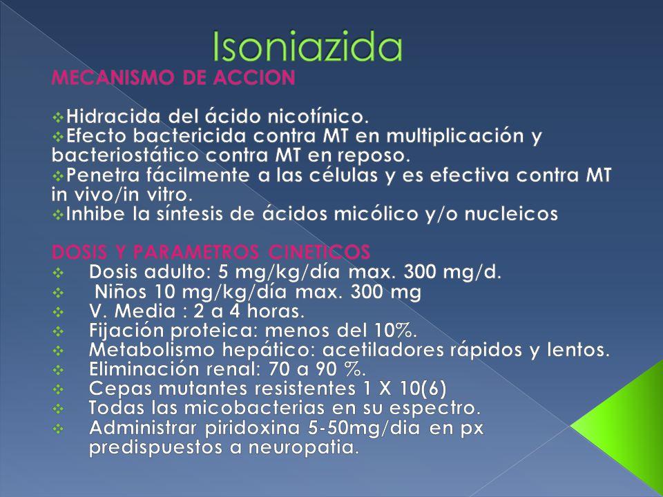 Isoniazida MECANISMO DE ACCION Hidracida del ácido nicotínico.