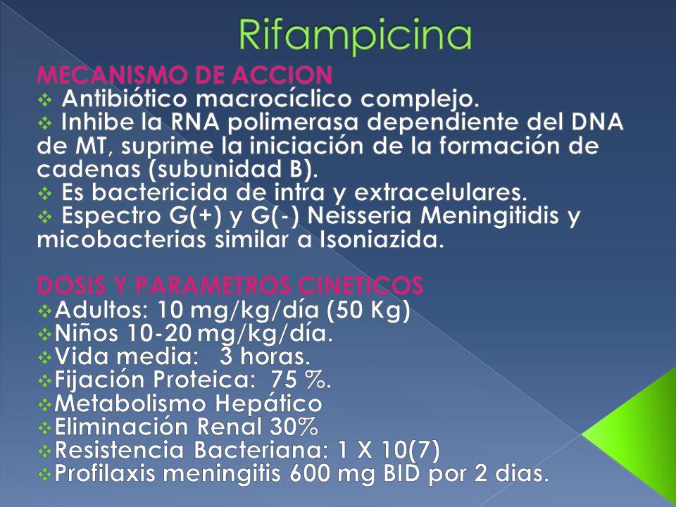 Rifampicina MECANISMO DE ACCION Antibiótico macrocíclico complejo.